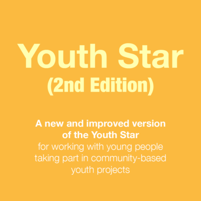 Graphic: text reads, Youth Star (2nd Edition). A new and improved version of the Youth Star for working with young people taking part in community-based youth projects
