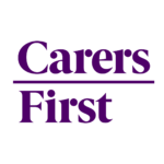Logo for Carers First - the words Carers First in purple on a white background