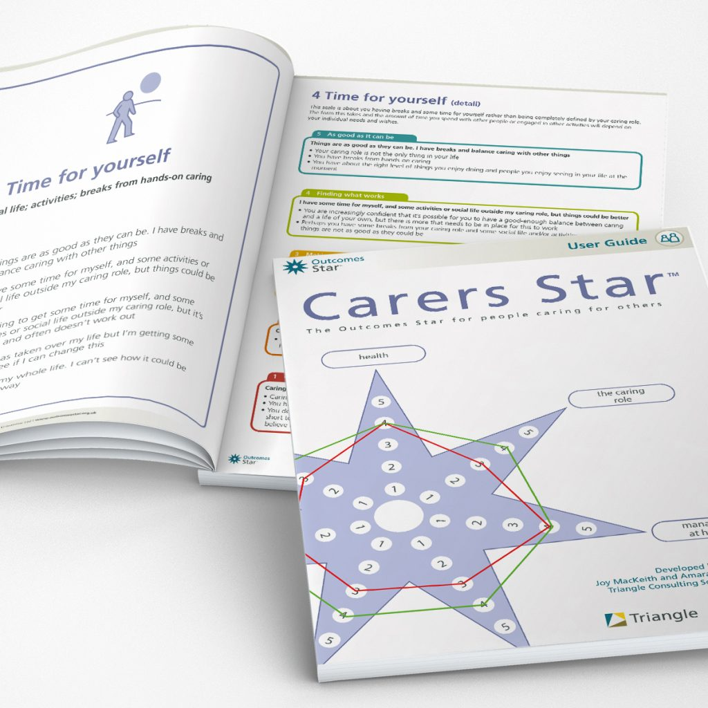 Example image showing the cover of the Carers Star User Guide and a open spread with the detailed scales for one area