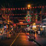 Stock photograph of a street in Hong Kong at night