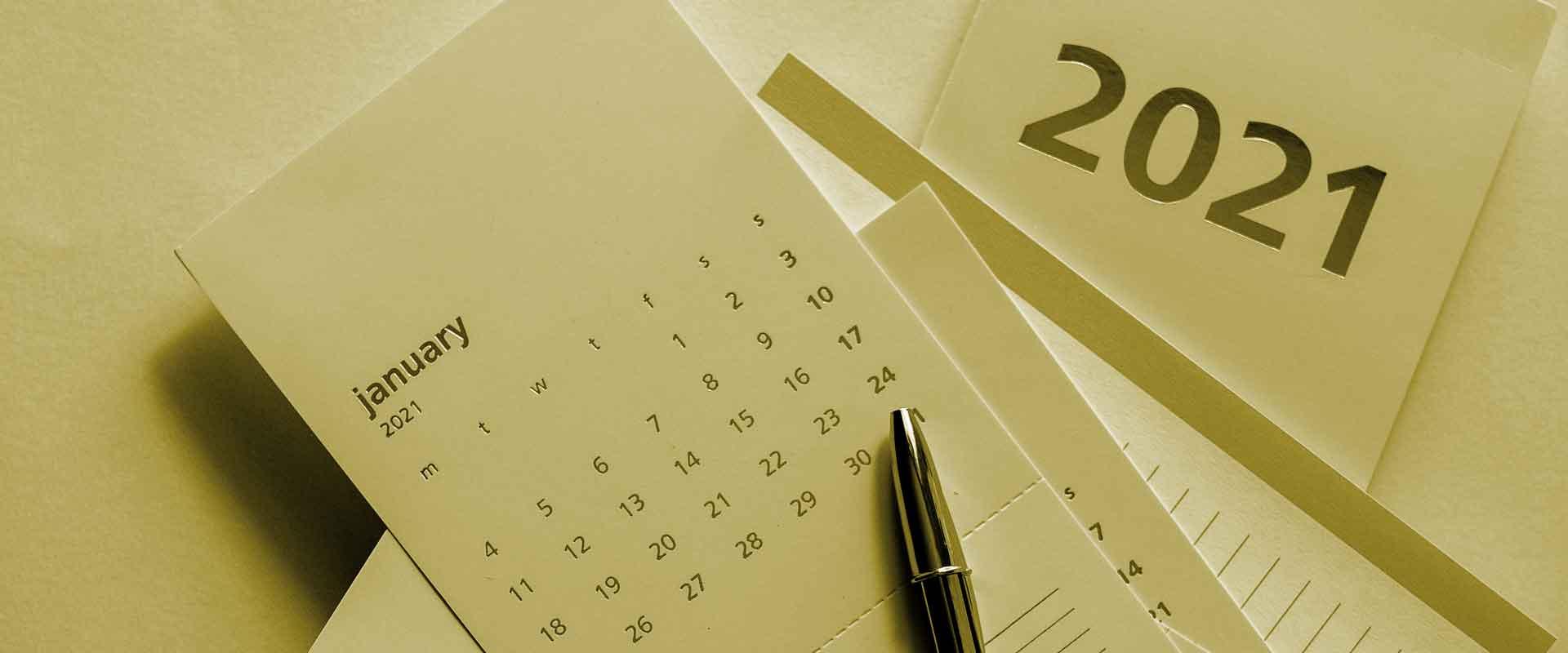 Gold colour calendar for 2021