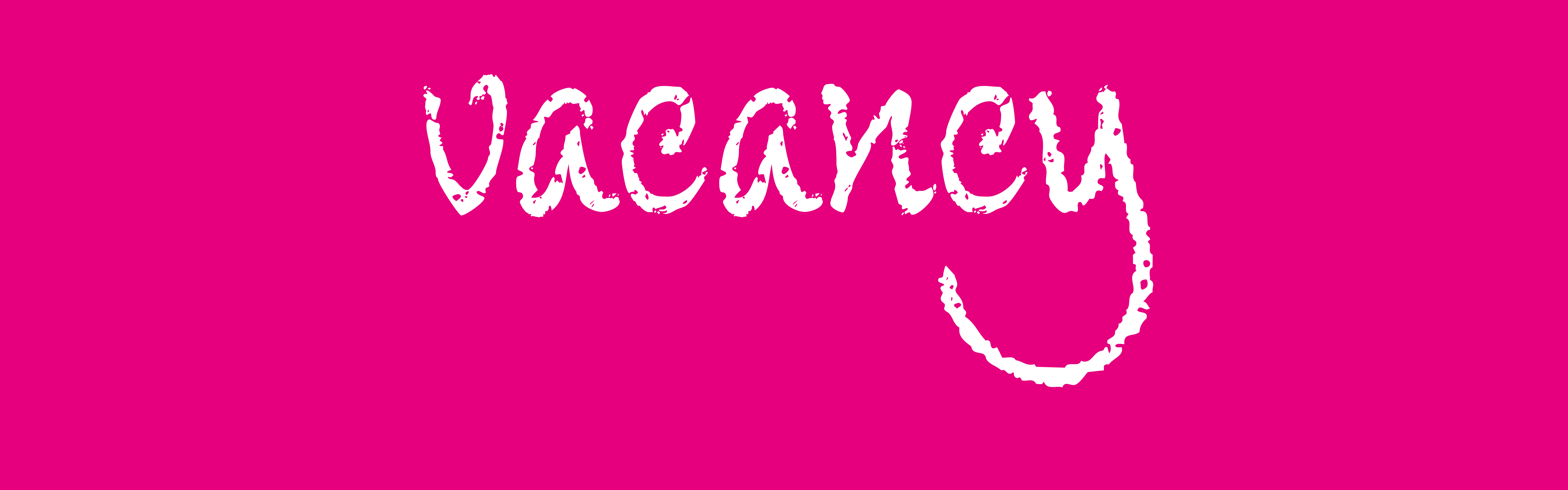 bright pink banner with the word Vacancy written on it